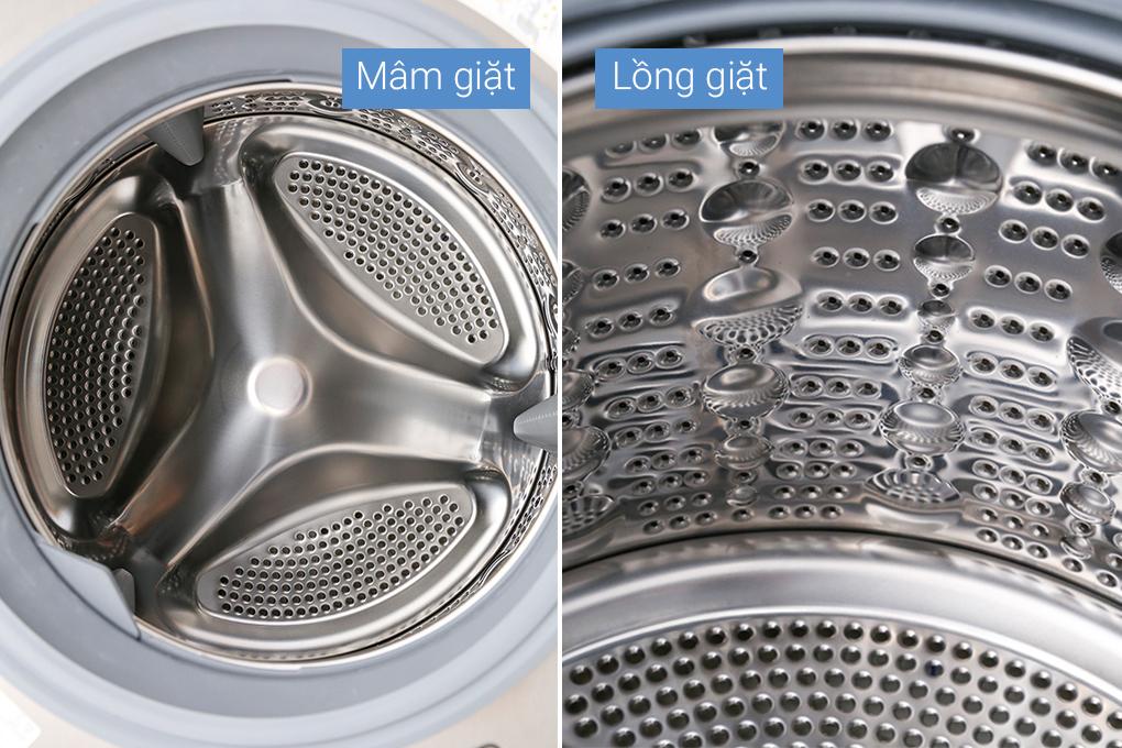 Máy giặt lồng ngang thép không gỉ sáng loáng