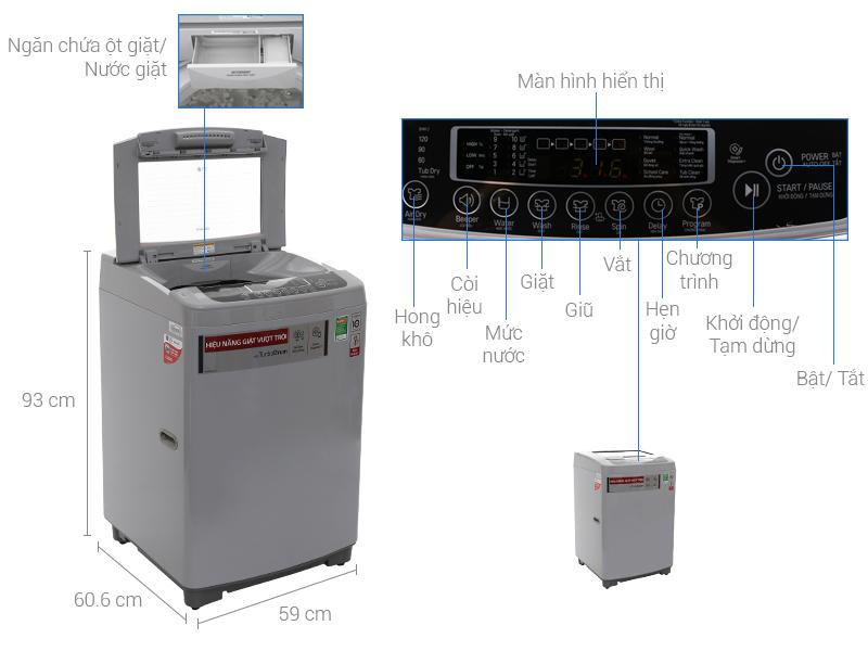 Bảng điều khiển tiện sử dụng của máy giặt LG 8,5 kg T2385 VSPM