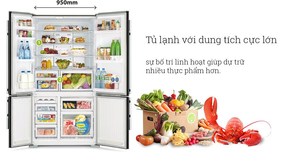Khay chứa bố trí linh hoạt, thuận tiện với tủ lạnh MR-L78EH-ST