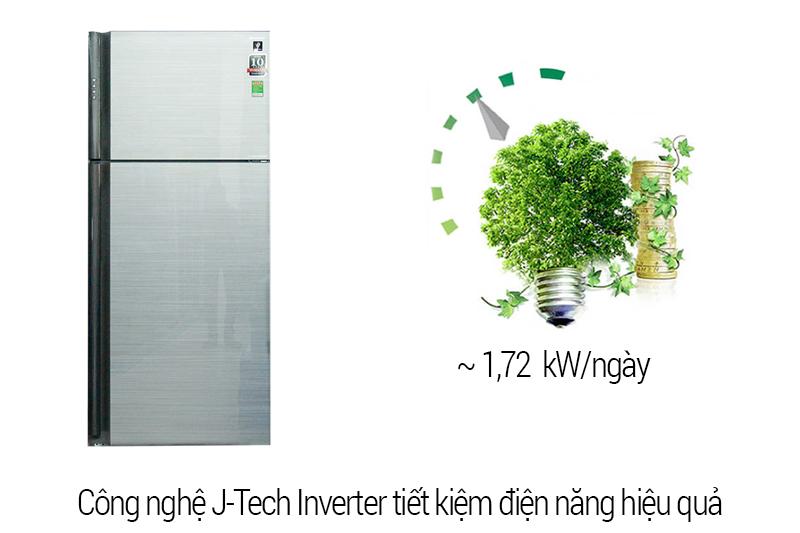 Công nghệ J Inverter giúp tủ vận hành êm ái với tủ lạnh Sharp SJ-XP630PG-SL
