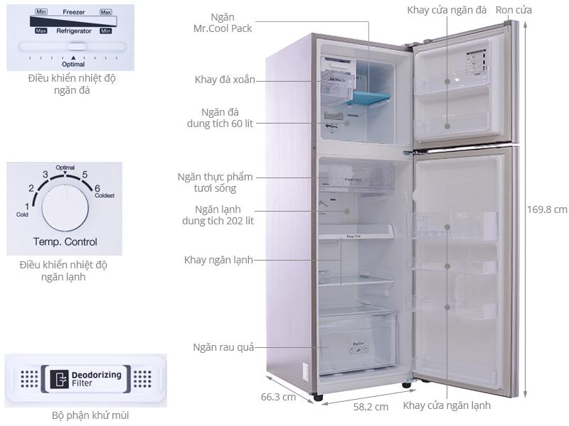 Cấu trúc của tủ lạnh Samsung công nghệ inverter 255 lít RT25FARBDSA