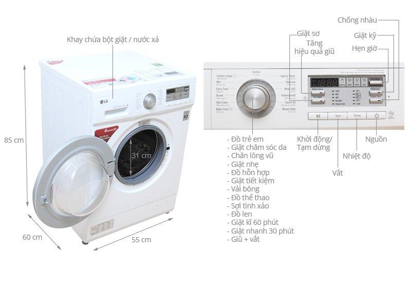 Thông tin kỹ thuật về sản phẩm máy giặt LG 7 kg F1407NMPW