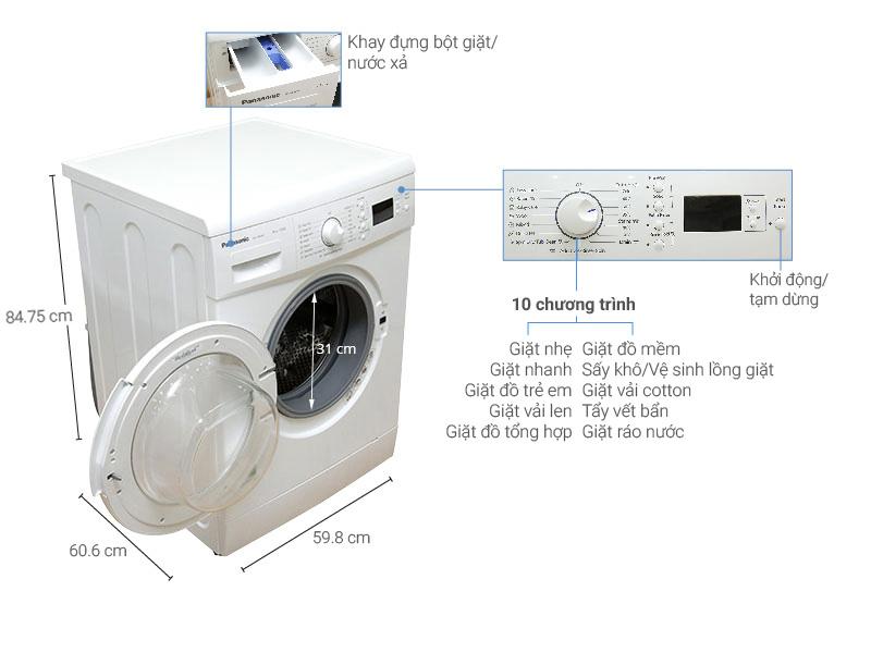 Thông số kỹ thuật của máy giặt Panasonic 8 kg NA-108VK5WVT