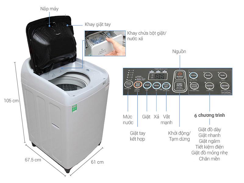 Thông số kỹ thuật của máy giặt Samsung 8.5 WA85J5712SG/SV