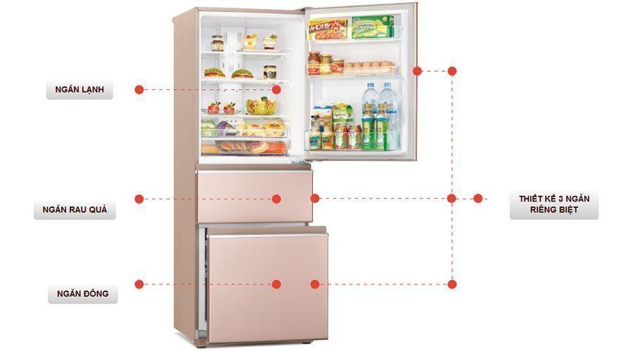 Thiết kế của tủ lạnh Mitsubishi Inverter Electric 326 lít MR-CX41EJ-PS-V