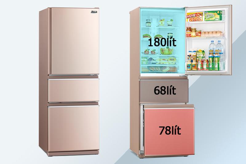Sức chứa đáng kể của  tủ lạnh Mitsubishi Inverter Electric 326 lít MR-CX41EJ-PS-V nhờ vào thiết kế khoa học