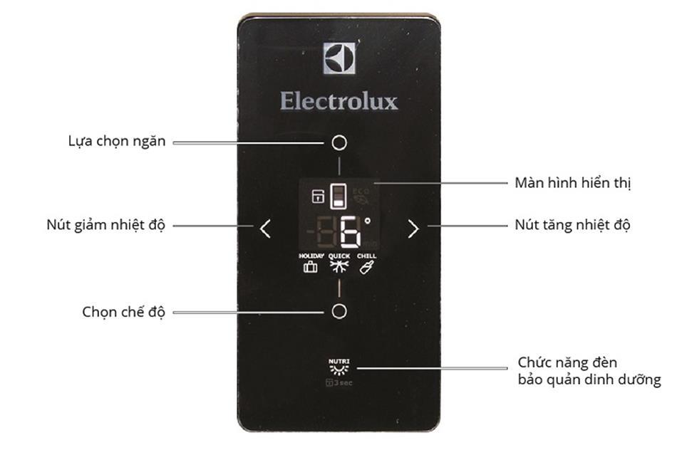 Các nút chức năng trên bảng điều khiển của tủ lạnh Electrolux