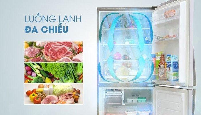 Luồng khí lạnh đa chiều giúp thực phẩm được làm mát đồng đều, không khí trong tủ luôn tươi mát
