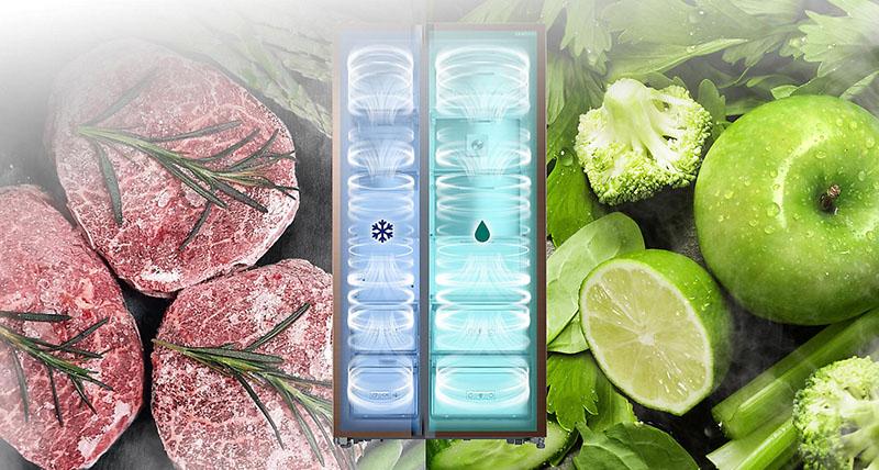 Tủ lạnh Samsung side by side 641 lít RS62K62277P/SV sở hữu hệ thống làm lạnh kép hiện đại
