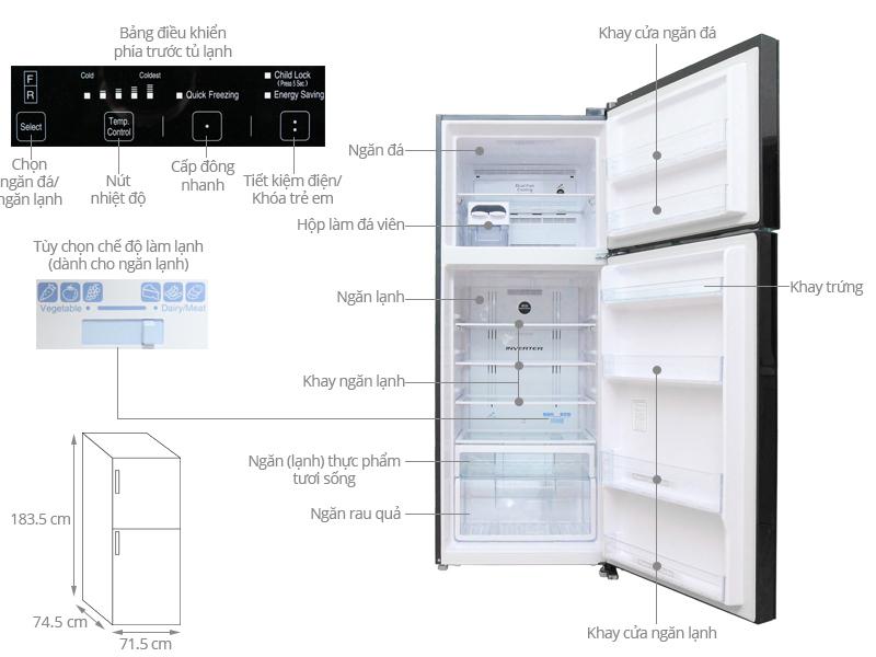Thông số kỹ thuật của tủ lạnh Hitachi model R-VG540PGV3