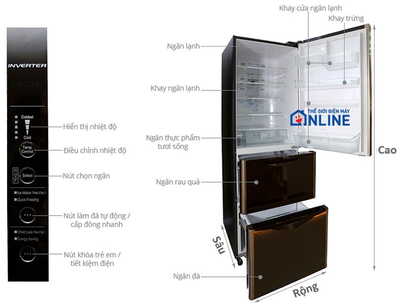 Thiết kế tổng quan của tủ lạnh ngăn đá dưới hitachi R-SG31BPG