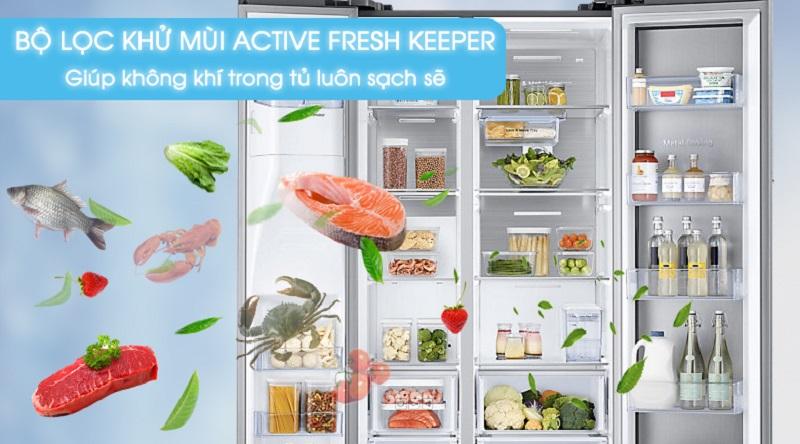 Lọc sạch không khí tủ lạnh với bộ lọc Active Fresh Keeper - Tủ lạnh Samsung Inverter 620 lít RH58K6687SL/SV