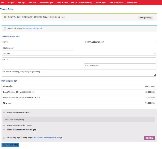 Điền đầy đủ thông tin để đăng ký mua hàng