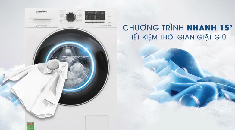 Chương trình nhanh 15 phút - Máy giặt Samsung Inverter 9 kg WW90J54E0BW/SV Lồng giặt kim cương bảo vệ quần áo bền đẹp