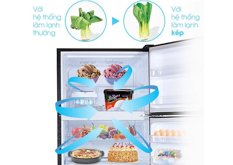 Hệ thống làm lạnh kép Hybrid Cooling đảm bảo thực phẩm tươi ngon, không bị mất nước