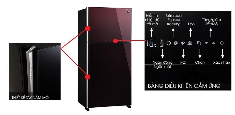 Tủ lạnh 2 cửa với bảng điều khiển cảm ứng bên ngoài tiện lợi