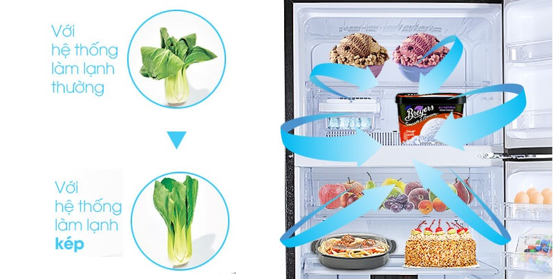 Hệ thống làm lạnh kép Hybrid Cooling mang hơi lạnh lan tỏa đến từng ngóc ngách bên trong tủ