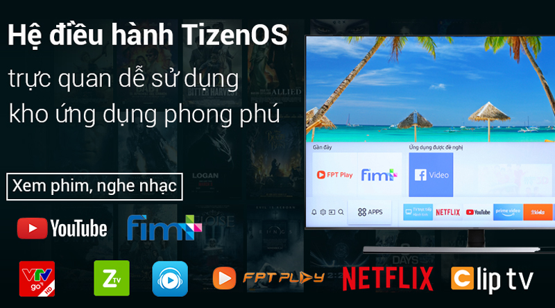Hệ điều hành Tizen OS 2018 trên Smart Tivi Samsung 4K 65 inch UA65NU8000