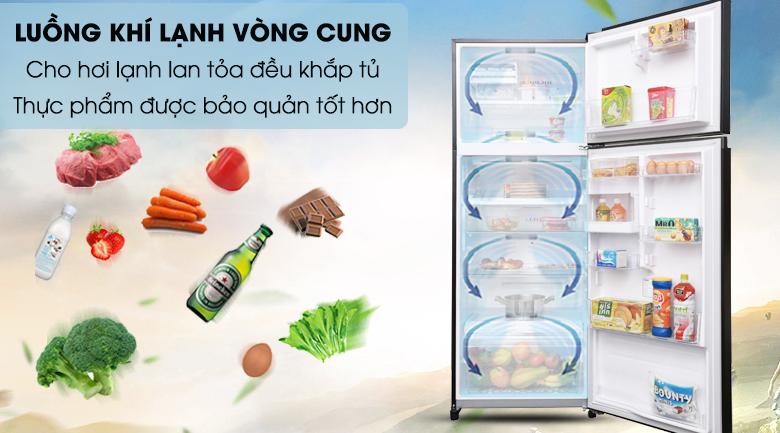 Mang hơi lạnh lan tỏa đồng đều bên trong tủ với luồng khí lạnh vòng cung - Tủ lạnh Toshiba Inverter 409 lít GR-AG46VPDZ XK
