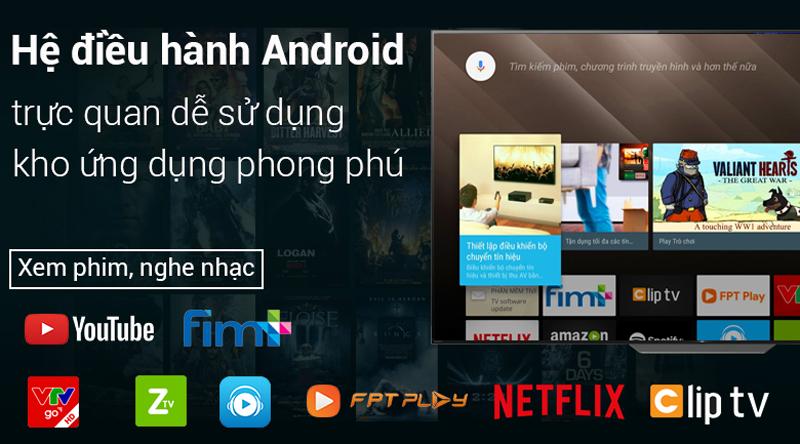 Hệ điều hành Android trên Android Tivi OLED Sony 4K 65 inch KD-65A8F