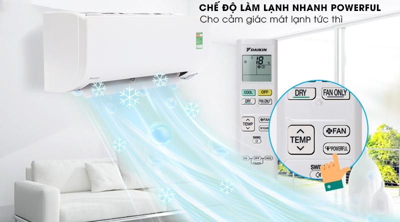 Làm lạnh nhanh - Điều Hòa Daikin 1.5 HP FTC35NV1V