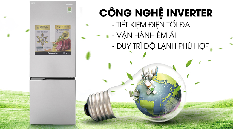 Công nghệ Inverter tiết kiệm điện - Tủ lạnh Panasonic Inverter 290 lít NR-BV329QSV2