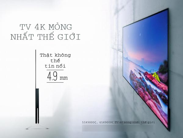 Android Tivi Sony 65X9000 65 inch - Thiết kế mỏng hoàn hảo, vẻ đẹp tuyệt đối