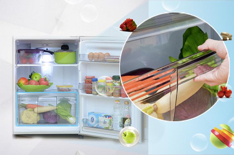 Thiết kế ngăn chứa rau quả chuyên dụng với tủ lạnh 152 lít NR-BM179SSVN