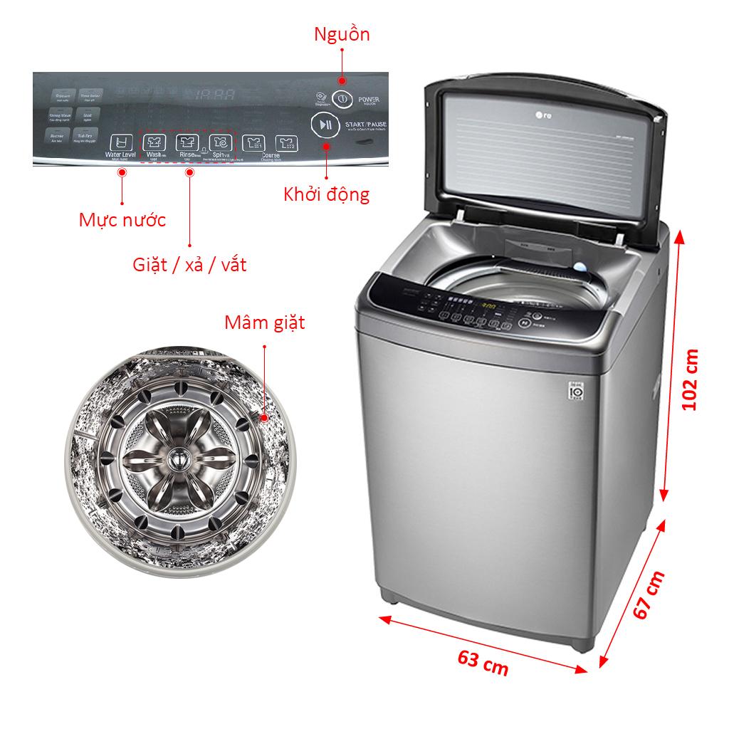 Nhiều tiện ích vượt trội với máy giặt cửa trên LG WF-DF1617SD