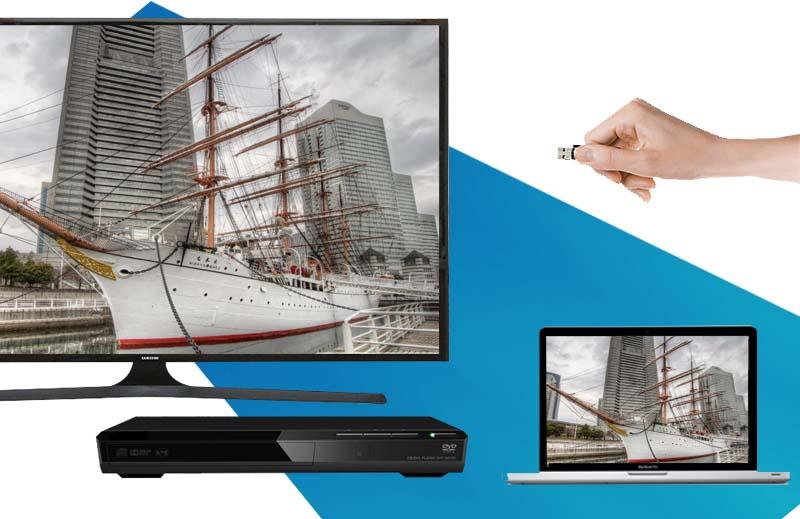 Tivi Samsung 48J5000 kết nối tiện lợi với nhiều thiết bị ngoài như USB, laptop, đầu DVD,…