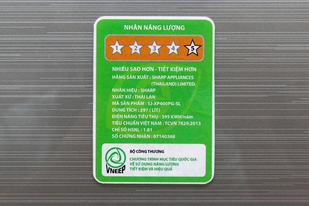 Tiêu thụ chỉ 1,09 kí điện 1 ngày với tủ lạnh 397 lít SJ-XP400PG-BK