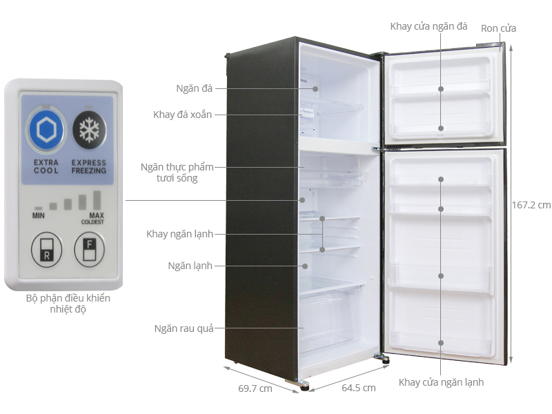 Bảng điều chỉnh chế độ lắp đặt ngay trong tủ