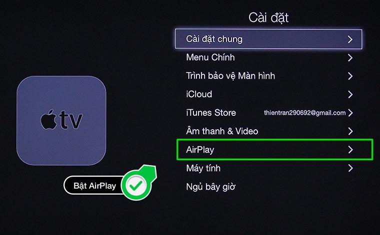 Bật Airplay trên App TV
