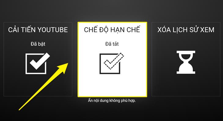 Khởi động chế độ hạn chế trên Youtube