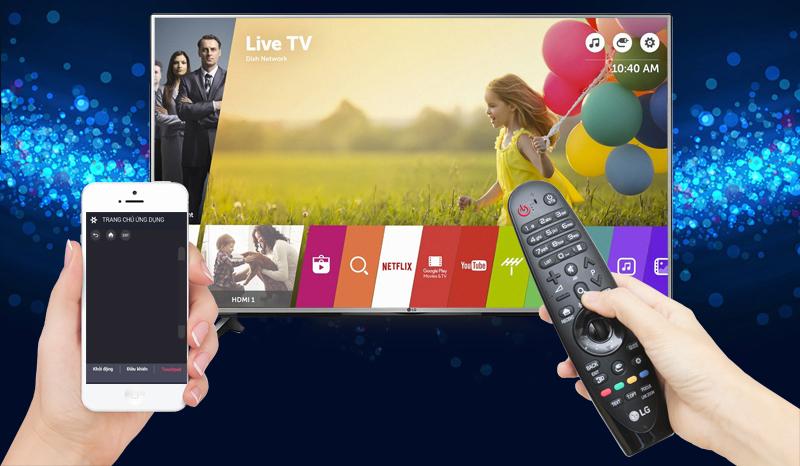Tivi LG 55UJ632T hỗ trợ kết nối linh hoạt, đặc biệt người dùng có thể điều khiển tivi bằng điện thoại rất thuận tiện