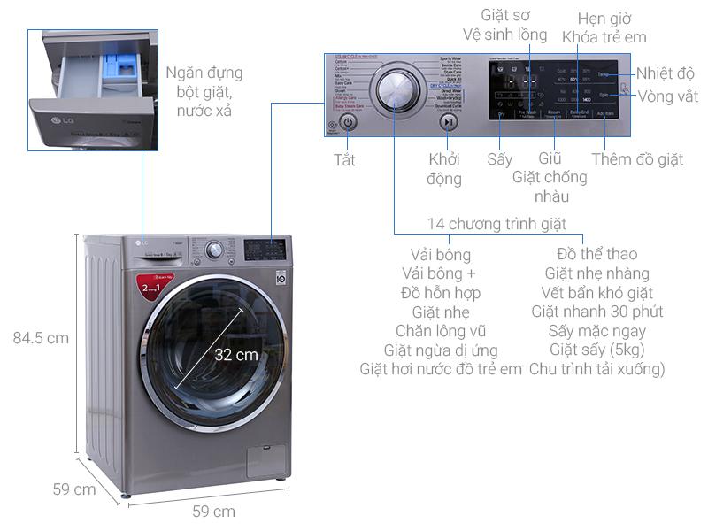 Thông số kỹ thuật của máy giặt LG 1409D4E
