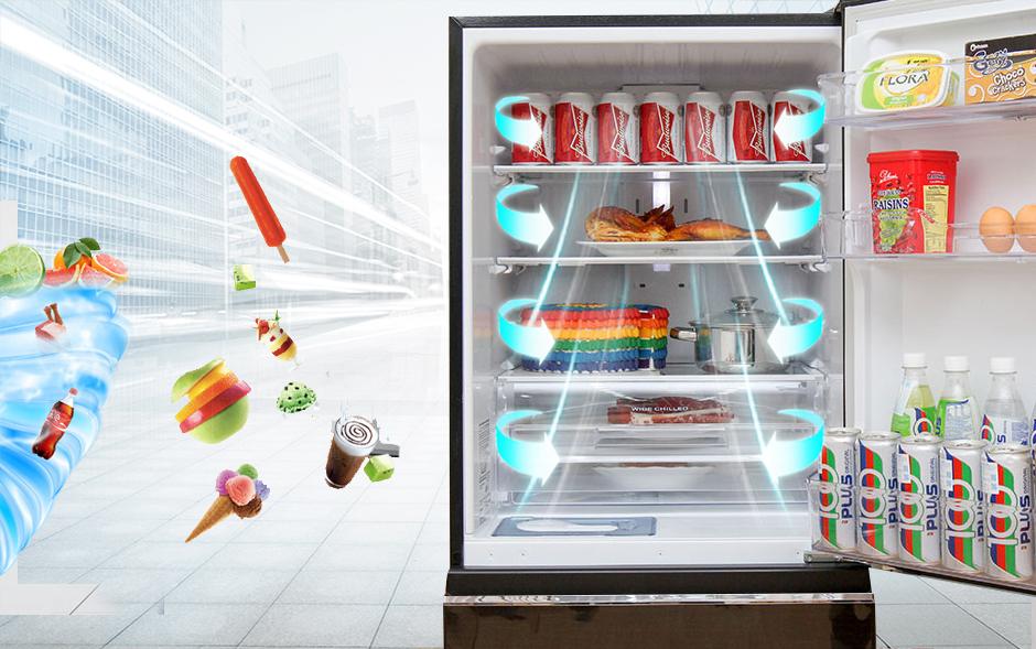 Công nghệ làm lạnh nhờ luồng khí lạnh đa chiều với tủ lạnh 326 lít MR-CX41EJ-BRW