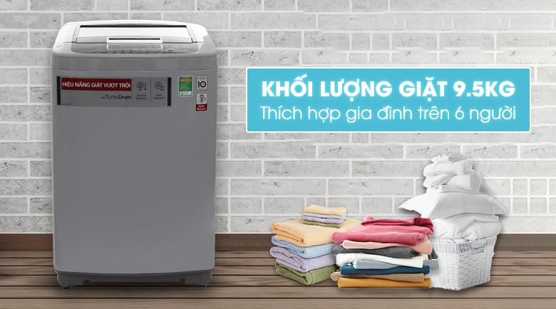 Thiết kế đơn giản, hài hòa của máy giặt LG Inverter 9,5 kg T2395VSPW