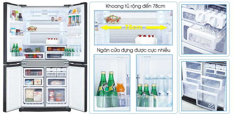 Tủ lạnh Sharp Inverter 678 lít SJ-FX680V-ST side by side 4 cánh