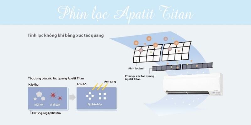 Phin lọc xúc tác quang Apatit Titan kháng khuẩn khử mùi