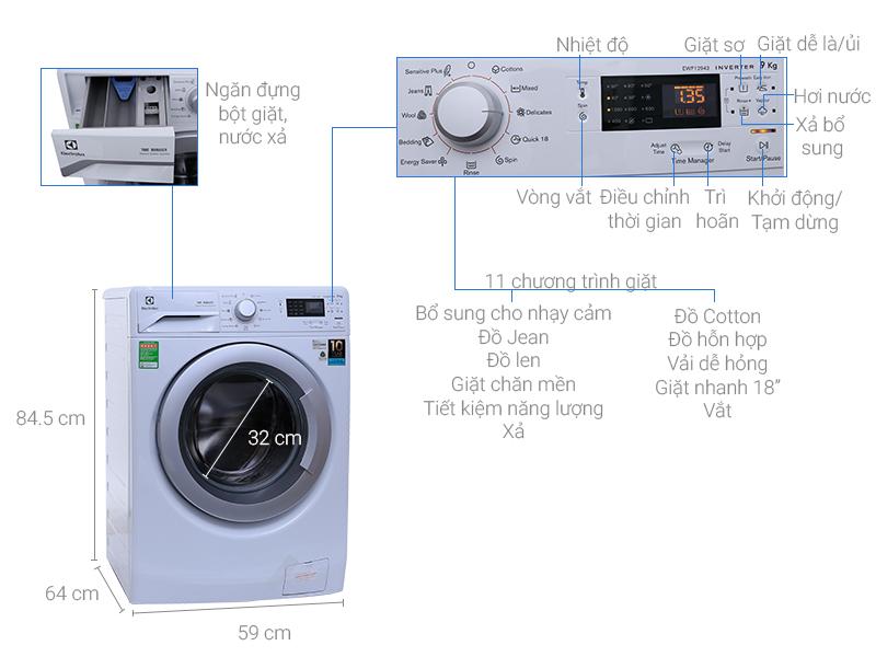 Máy giặt Electrolux 9 kg EWF12942 - Thiết kế sang trọng và tinh tế