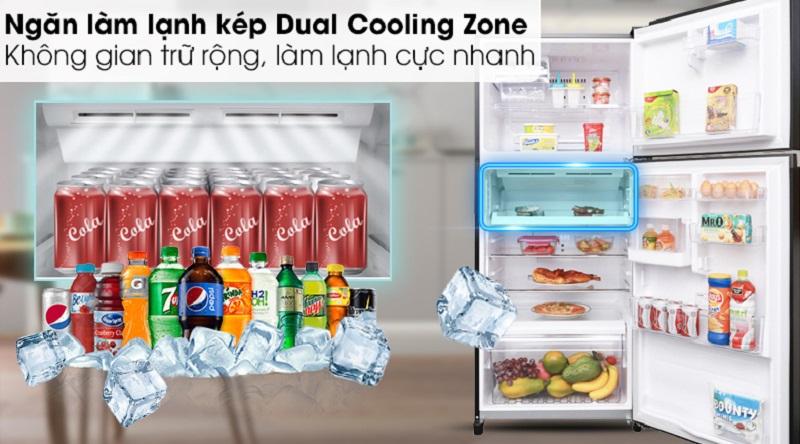 Ngăn lạnh kép Dual Cooling Zone hỗ trợ làm lạnh nhanh - Tủ lạnh Toshiba Inverter 359 lít GR-AG41VPDZ XK1