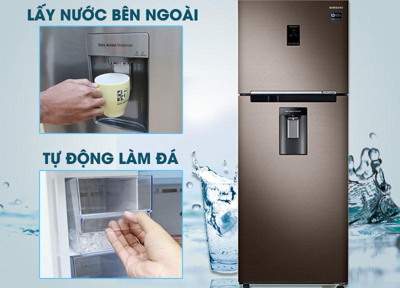 Làm đá tự động và lấy nước bên ngoài - Tủ lạnh Samsung Inverter 380 lít RT38K5982DX/SV