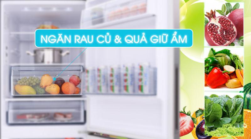 Ngăn giữ ẩm củ quả-Tủ lạnh Panasonic Inverter 255 lít NR-BV289QSV2