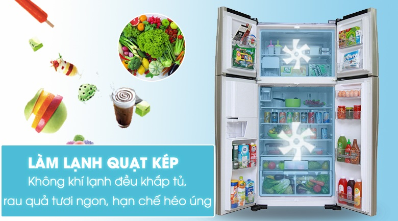 Làm lạnh kép - Tủ lạnh Hitachi Inverter 540 lít R-FW690PGV7 GBK