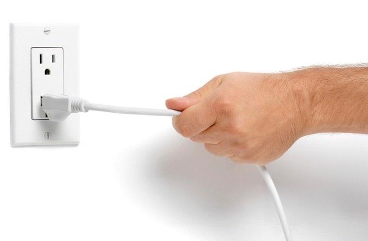 Ngắt điện khi đã đun nóng và trước khi sử dụng