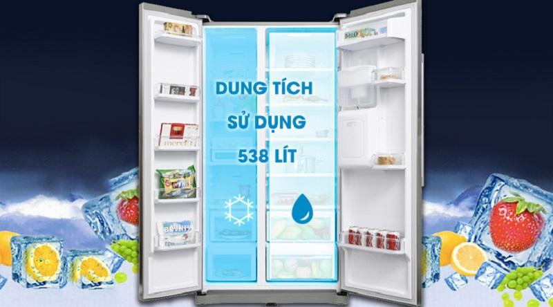 Dung tích sử dụng lên tới 538 lít - Tủ lạnh Samsung Inverter 538 lít RS52N3303SL/SV