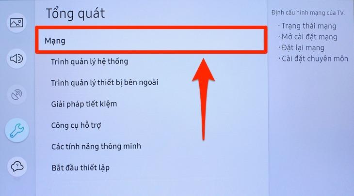Mục cài đặt mạng trên tivi Samsung