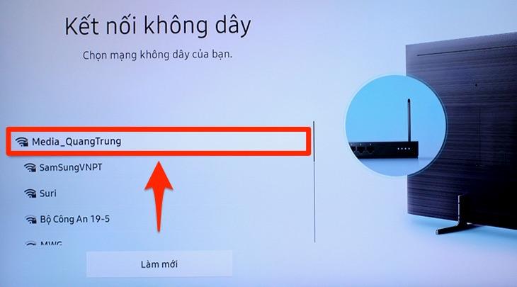 Mục chọn mạng trên tivi Samsung