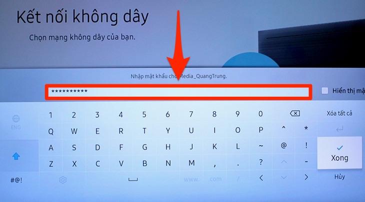 Mục nhập mật khẩu mạng Wifi trên tivi Samsung
